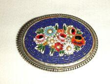 Pretty Floral Vintage Micro Mosaic Pin Back brooch