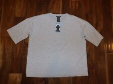 CHELSEA & THEODORE Pearl Embellished Shirt Top Ecru Heather Small S $58