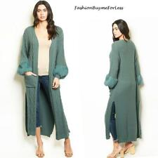 PLUS 70S' Retro BOHO Fur Cable Chunky Knit Maxi Sweater Cardigan Coat XL 1X 1XL