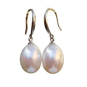 Elegant AAAA  Baroque Drop Freshwater White pearl silver S925 earring Dangle 77