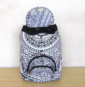 Backpack Indian Black & Grey Cotton Hippie Mandala Unisex Men Women Fashion Bag