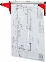 AdirOffice Red Hanging Blueprint Plans Posters Bracket Steel Drop Lift Wall Rack
