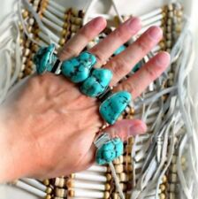 ✨Adjustable Turquoise Nugget Silver Plated  Statement Cocktail Ring Boho Gypsy ✨