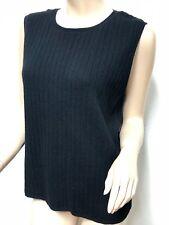 Black Large McDuff Finest Cashmere Yarns Sleeveless Shirt Ribbed 38 Large