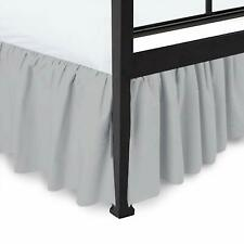 100% Microfiber Ruffle Bed Skirt Split Corner Silver Queen/King All Size
