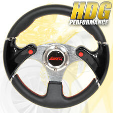 Jdm Black 6 Hole 320Mm Pvc Leather Racing Steering Wheel Nos Button Jdm Horn