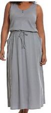 Lane Bryant Cacique sexy gray tank maxi sleep lounger drawstring waist 14/16