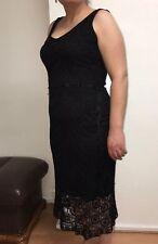 Wallis Black Lace Midi Dress Size M
