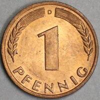 1949-D Germany 1 Pfennig UNC Munich Federal Republic Coin (19110902R)