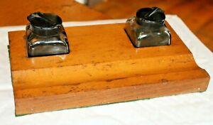 Antique Vintage Wooden Twin Solid Glass Inkwell Stand Desk Tidy Wood Plinth