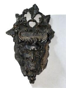 Antique Cast Iron Devil  Wall BOX Match Safe Holder Vesta 1920's