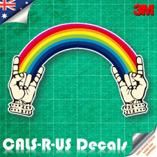 Rainbow Rock N Roll Punk Hands Unicorn Car Skateboard Vinyl Decal Sticker 3M