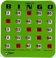 10 Pack Reusable Finger-tip Shutter Slider Bingo Cards (Green)