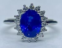 Made To Order 3 Ct INTENSE BLUE Sapphire & VVS1 Diamond Ring 14K White Gold GIA