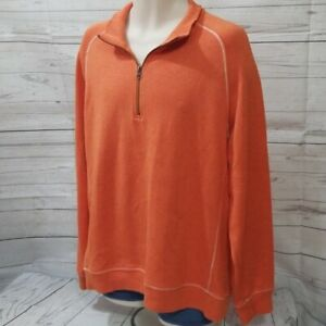 Mens LL Bean Traditional Fit Sz L Orange Sweater