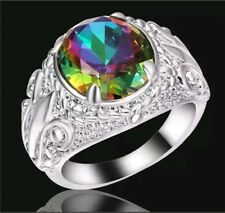 Round Rainbow Topaz Big Stone Flower Wedding Ring 18K white Gold Filled Size 8