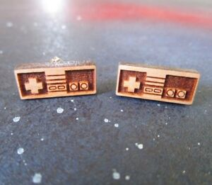NES Nintendo-ish Retro Video Game Controller Wooden Stud Earrings, Vintage Gamer