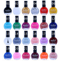 10ml Nail Art Stamp Stamping Template Painting Varnish Polish Manicure 24-Colors