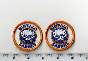 Set of 2 Vintage 1970s NHL Buffalo Sabres 2 Inch Round PATCH (sew on only)