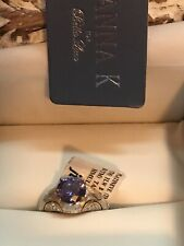 Vanna k Blue & White Cz Platineve And  18k Over Sterling 4.45 Ctw Ring Sz8