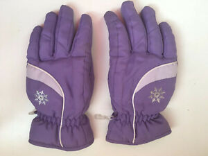 GIRLS THINSULATE 40 GRAM WATER PROOF WINTER SNOW GLOVES Lavender Snowflake M L