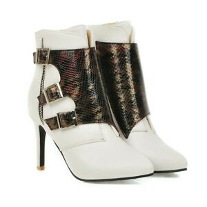 Fashion Women's Buckle Faux Leather Ankle Bootie Pointed Toe Stiletto High Heels
