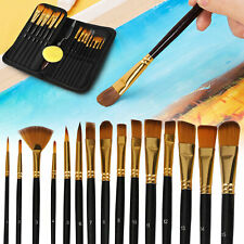 15pcs Artist Paint Brushes Set Acrylic Oil Watercolour Painting Craft Art Model