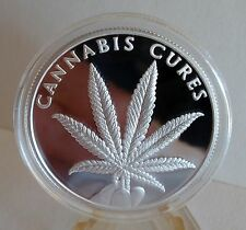 """Silver Shield (2016) """" CANNABIS CURES """" 1oz 999 Solid SILVER PROOF +COA + SS Box"""