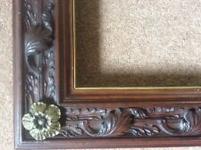 Antique Handcarved Victorian c19th Wooden Picture Frame Gothic Revival Gilt Rose