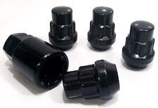 4 X Negro Aleación Tuercas De Rueda Cerraduras de bloqueo Pernos Lugs. M12 X 1.5 21mm Hex, forma cónica