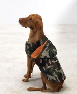 DOG GREEN ARMY CAMO Rain Coat Jacket w/Detachable Hood Slicker Raincoat*XS