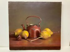 Oil Painting Still Life Australian Artist Gibbings Johns Lemons Teapot 18x17""
