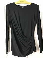 ANN TAYLOR Sz L Petite Black Side Ruched Long Sleeve Knit Top NWT