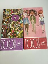 2 Cardinal Puzzles Flower Doodles and Fashion Girls 100 Pieces Jigsaw Puzzle