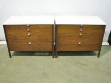 *PAIR* Vintage 1950's Florence Knoll 4 Drawer Walnut Dressers w/Laminate Tops