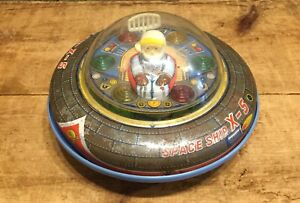 Rare Vintage 60s SPACE SHIP X-5 Tin And & Plastic Battery Operated Japan Toy