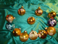 ~ 12 alte Christbaumkugeln Glas gold blau lila weiß Engel Blumen Weihnachtskugel