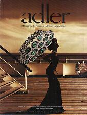 PUBLICITE  2012    ADLER  collection bijoux collier en carbonne &  émeraudes