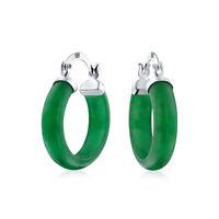 Green Jade Tube Small Hoop Earrings 925 Sterling Silver 75 Inch Dia