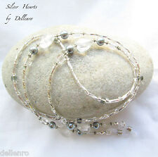 ✫SILVER HEARTS✫ BEADED EYEGLASS GLASSES SPECTACLES CHAIN HOlDER CORD