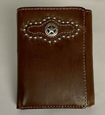NOCONA TOP HAND MEN'S TRIFOLD WALLET BROWN LEATHER ID currency credit card NWT!