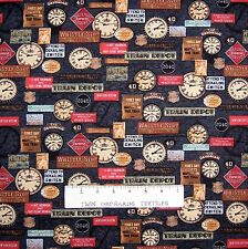 Locomotion Fabric - Train Signs & Clocks on Black - Benartex Bristol Bay 1.47Yd