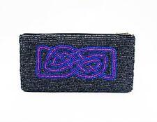 Sead Bead Purse with Purple & Pink Celtic Knotwork Design, 16cm wide x 8cm high