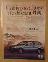 Vintage 1980's DODGE COLT Import 1989 Original Print Ad PROMO Advertisement