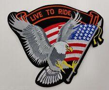 "Med American Eagle Live to Ride Patch SILV 9"" x 7"" Biker Vest Jacket Back Patch"