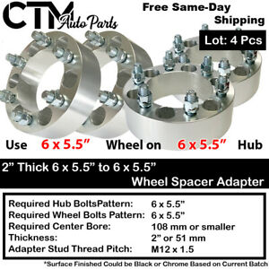 """4PC 2"""" THICK 6x5.5 to 6x5.5 108mm CB WHEEL ADAPTER SPACER FIT M12x1.5 STUD MODEL"""