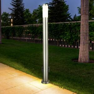 LED Außen Steh Lampe Garten Wege Stand Leuchte 2x Steckdose Edelstahl Säule