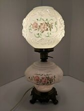 New listing Puffy Rose Milk Glass Gone With the Wind Lamp. Hand painted. Three way switch.