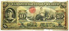 1906 Mexico Banco Nacional 10 Pesos with Overprint Aguascalientes S258 #11839
