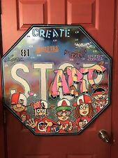 30 x 30 real street metal road stop sign painting Start Graffiti Art Heart Paint